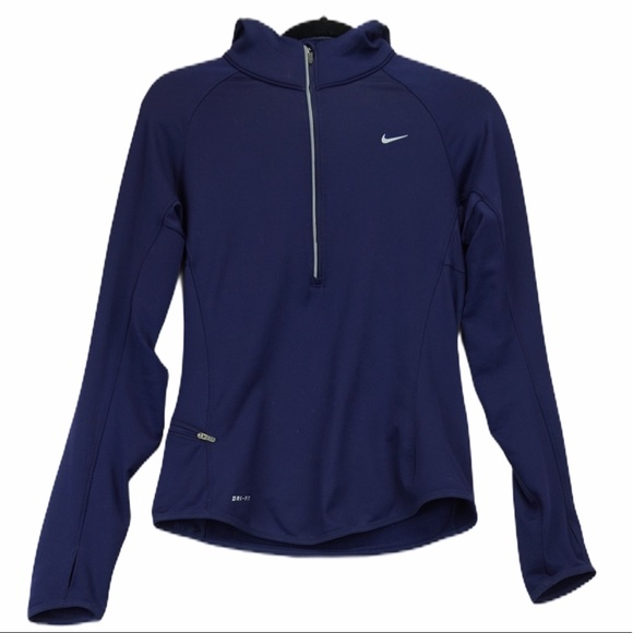 Nike dry fit small blue half zip pullover hood